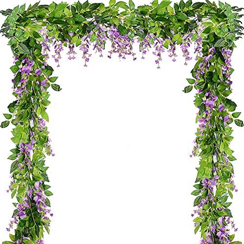 5 piezas de 9,4 m artificiales de glicina para colgar flores de seda sintética, guirnaldas de hiedra de plástico (morado)