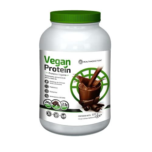 Proteína Vegana Healthaddiction I Delicioso Sabor Chocolate I Con Glutamina y Aminoácidos I 24g De Proteína y 2.5g De Glutamina I Ingredientes Naturales I 600g