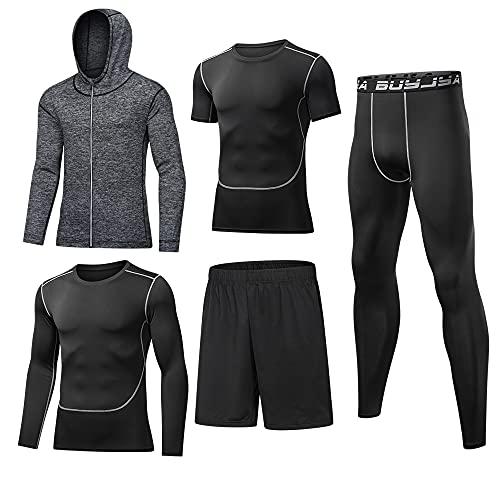 BUYJYA 5 piezas de pantalones de compresión para hombre, camisa de manga larga, chaqueta atlética, conjuntos de ropa de gimnasio para hombre, Gris, Medium