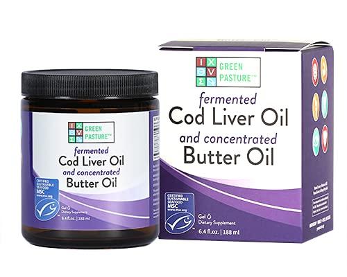 Green Pastures Blue Ice aceite de mantequilla real/aceite de hígado de bacalao fermentado mezcla de gel – sin sabor, 8.1 fl. oz.