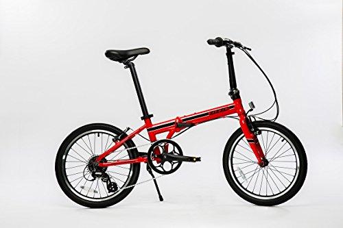 EuroMini Urbano - Bicicleta Plegable Shimano de 8 velocidades, 60,96 kg, 50,8 cm, Color Rojo