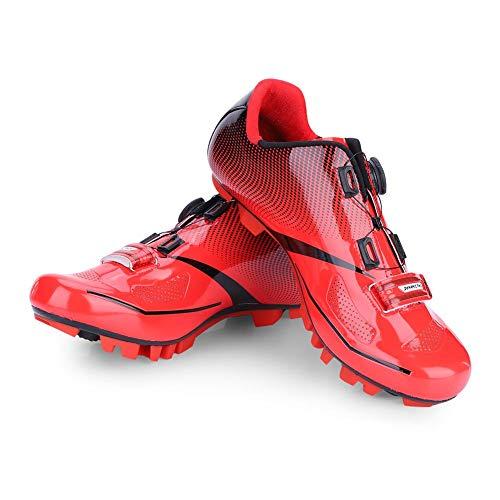 Zapatillas de Ciclismo de Bicicleta de Montaña de Carretera,1 Par Calzado de Ciclismo de Bicicleta MTB Respirable Antideslizante Sistema SPD Compatibilidad Calzado para Mujer Hombre Adulto(39-Rojo)