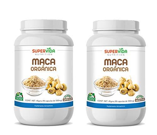 Maca Orgánica 180 Cápsulas (2 Frascos de 90 Cápsulas Vegetales de 500 mg MACA) | SuperVida Nutrition - Suplementos 100% Naturales