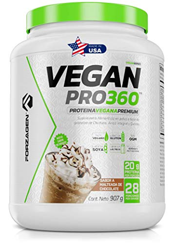 FORZAGEN   Hecho en EUA   Proteina Vegetal Vegan Pro 360   Proteína Importada 100% Vegana   2 lb (907 g)   28 Servicios x Envase   Delicioso Sabor a Malteada de Chocolate   20 g de Proteína de Origen Vegetal por Servicio   A Base de Proteína de Chícharo, Arroz Integral y Quinoa   Sin Organismos Geneticamente Modificados (Non GMO)   Libre de Soya   Libre de Gluten   Endulzado con Stevia   Ideal para Veganos  Pre-Post-Intra Entrenamiento   Fácil y Rápida Preparación   Suplemento Gym