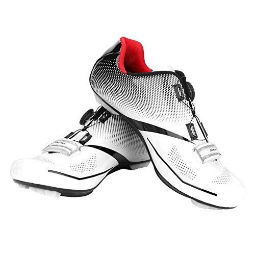 Dioche Zapatillas de Ciclismo para Hombre, Sistema de Bloqueo Antideslizante Antideslizante para Ciclismo de Carretera para Adultos, para Ciclistas(41-Blanco)