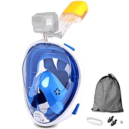 Jasonwell Máscara de Buceo 180 Grados de Vision Máscara de Snorkel de Cara Completa respirando Libre Anti vaho y Anti Fugas con Montaje de cámara para Adultos y Niños (Azul, S/M)