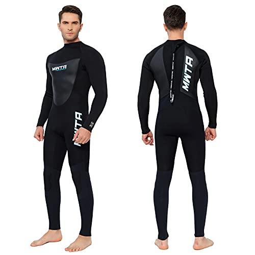 MWTA - Traje de neopreno para hombre, 3/2 mm, cremallera trasera, para buceo, surf, natación, kayak, remo, embarque y otras actividades acuáticas, color negro XL