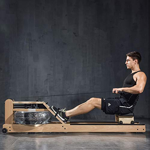 Battife - Máquina de remo de agua con monitor Bluetooth de madera de roble, máquina de remo para uso en interiores, equipo de entrenamiento para gimnasio en casa.