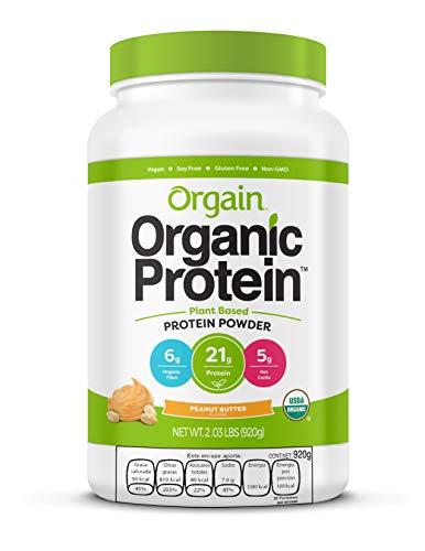 ORGAIN Proteina Vegana y Organica en Polvo - SIN OGM - GLUTEN FREE - LIBRE DE LACTOSA - SIN AZUCAR ANADIDA - LIBRE DE SOYA - Sabor Mantequilla de Cacahuate - 920grs