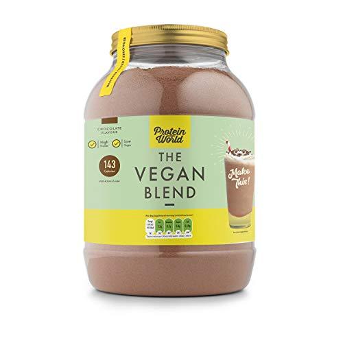 Protein World - The Slender Blend Vegan Sabor Chocolate 1.2 kg | Vegetal (Vegana) | 28g de Proteína por Porción | Sin Gluten | Libre de Lactosa | Sin Soya | Kosher | Halal