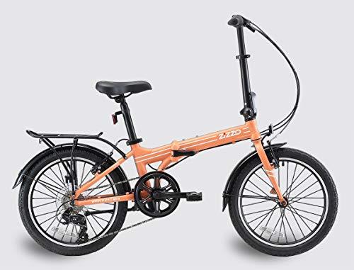 EuroMini ZiZZO - Bicicleta Plegable de 12,7 kg (20 Libras) de Aluminio Ligero Shimano auténtica Bicicleta Plegable de 7 velocidades con defensas, Estante y límite de Peso de 300 Libras (Coral)