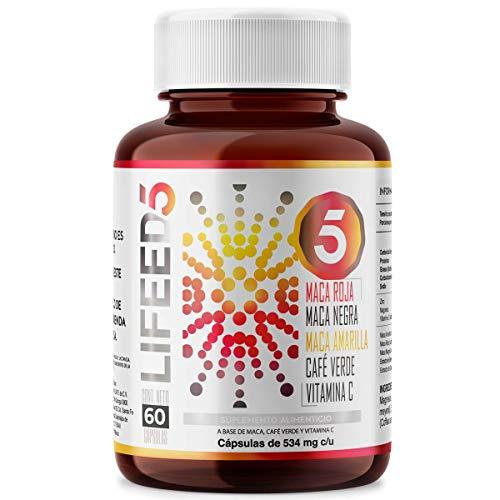 LIFEED MACA Negra + Amarilla + Roja, Café Verde, Vitamina C   LF5 Capsulas 60 Dias   LIFEED5 MACA Energía Completa, une todas las Macas y refuerza con Cafeína   100% Natural