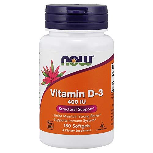 Now Foods Vitamina D-3 400 IU cápsulas blandas, 2 unidades