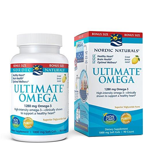 Nordic Naturals Ultimate Omega Softgels - Suplemento concentrado de aceite de pescado Omega-3 Burpless con más DHA y EPA, apoya la salud del corazón, el desarrollo cerebral y el bienestar general, sabor a limón, 90 unidades