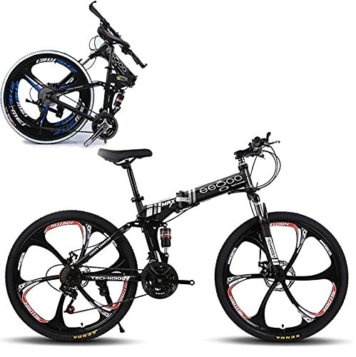 EGO TECHNOLOGY Bicicleta Plegable 26´ Doble Suspension Shimano Montaña Ciclismo (Negro)