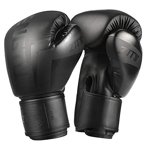 ZTTY Guantes de Boxeo para Kickboxing, Muay Thai, Pera de Boxeo, Grado Profesional, para Hombres y Mujeres de (Black, 14oz)