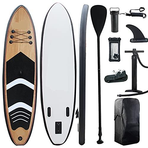 Tabla Paddle Surf Hinchable, Portátil Stand Up Paddle, 385ib de Capacidad de Carga, con Remo Ajustable, Bomba de Aire con manómetro-300*76*15CM