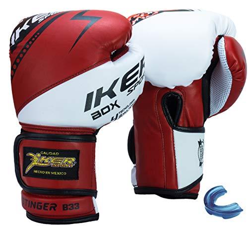 IKER SPORT Guantes DE Box Kick Boxing MMA Entrenamiento (Rojo, 16 oz)