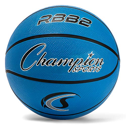 Champion Sports - Baloncesto de Goma para niños, Resistente, Varios Colores y tamaños, Equipo de Baloncesto Premium, Interior y Exterior, Suministros de educación física (tamaño 5, Azul)