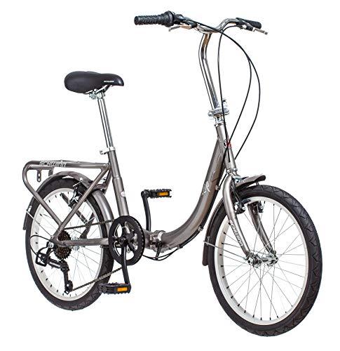 Schwinn Loop - Bicicleta Plegable para Adultos, Ruedas de 20 Pulgadas, Soporte Trasero, Color Plateado