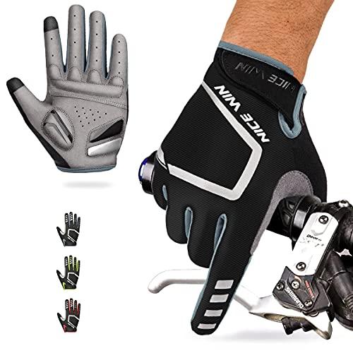 NICEWIN Guantes de ciclismo de dedos completos para hombres, tela transpirable resistente al desgaste, almohadilla de gel absorbente de golpes, apto para montar en bicicleta de montaña en otoño e invierno