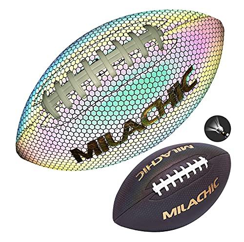 Balón de fútbol reflectante holográfico para jóvenes, tamaño 6 con bomba, tamaño juvenil Milachic Junior Reflectante de Fútbol para niños, niños y jóvenes de cuero para entrenamiento y juego al aire libre